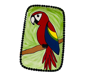 Cape Cod Scarlet Macaw Plate